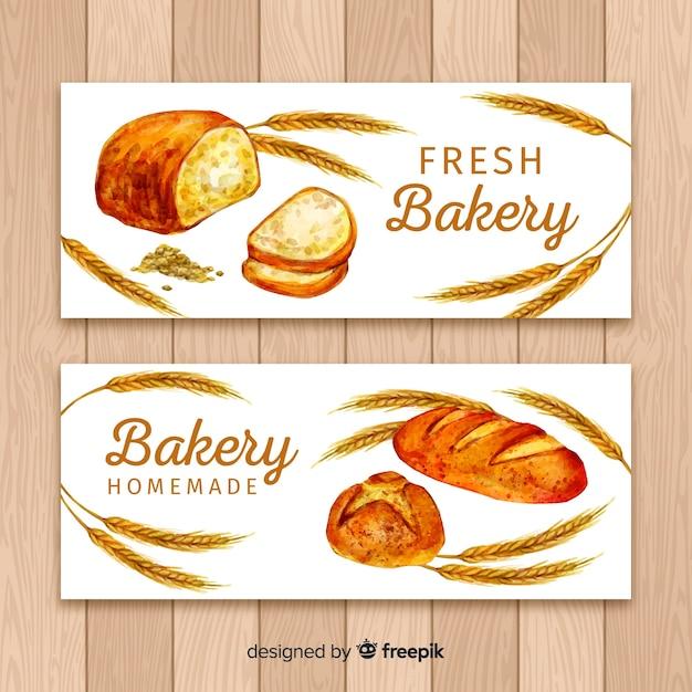 Banners de panadería en acuarela vector gratuito