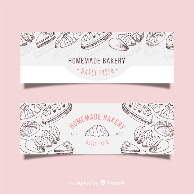 Banners de panadería dibujados a mano vector gratuito