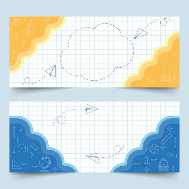 Banners en papel cuadriculado blanco Vector Premium