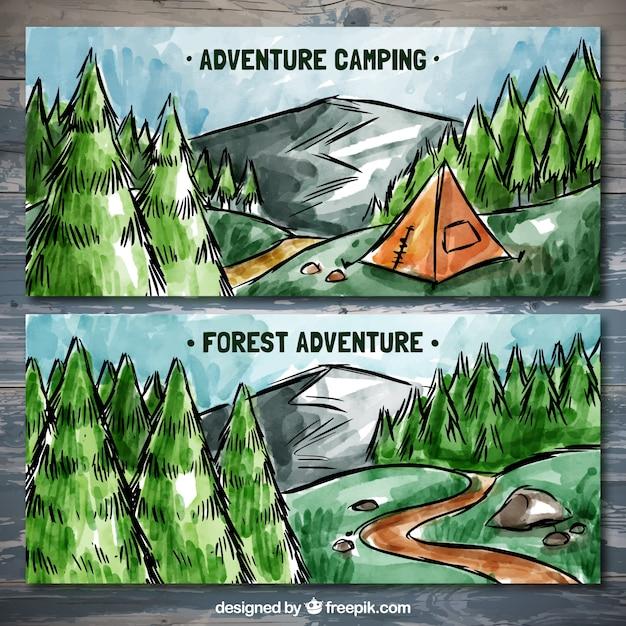 Banners pintados a mano de campamento  Vector Gratis
