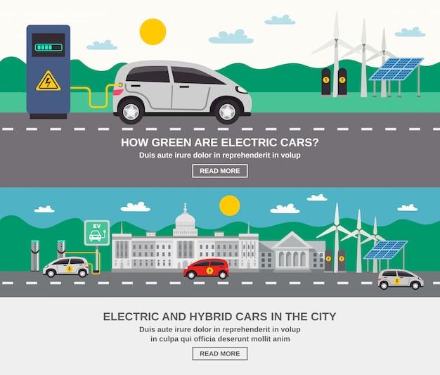 Banners planos de coche eléctrico city 2 vector gratuito