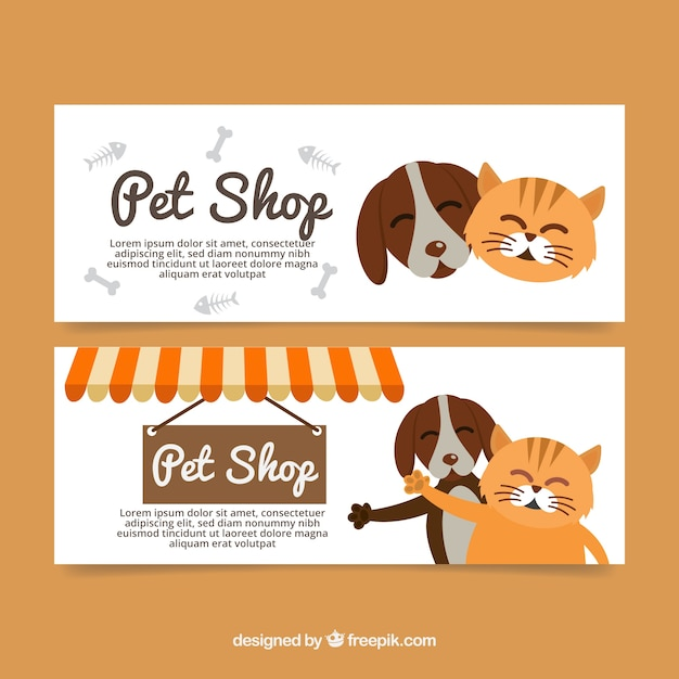 Banners planos con encantadoras mascotas descargar vectores gratis - Grand petshop ...