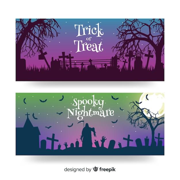Banners planos de crepúsculo de halloween vector gratuito