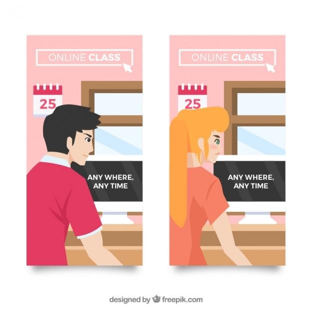 banners planos de clases en l nea descargar vectores gratis