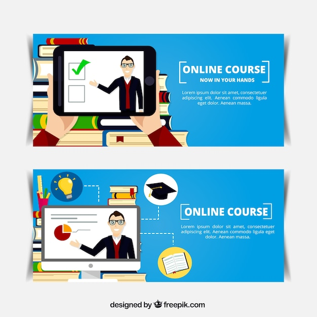 Banners planos de curso en l nea descargar vectores gratis for Planos en linea