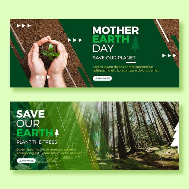 Banners planos del día de la madre tierra con foto vector gratuito