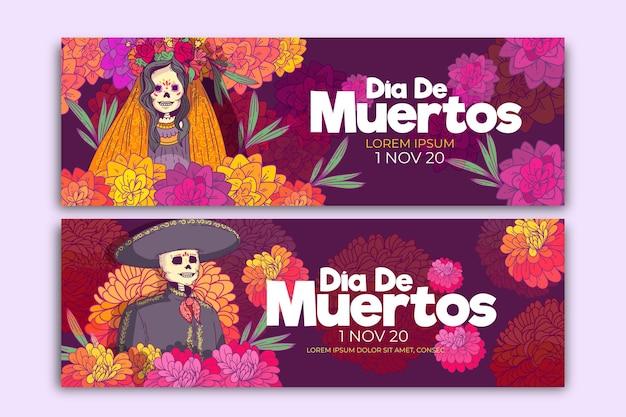 Banners planos del día de los muertos. vector gratuito