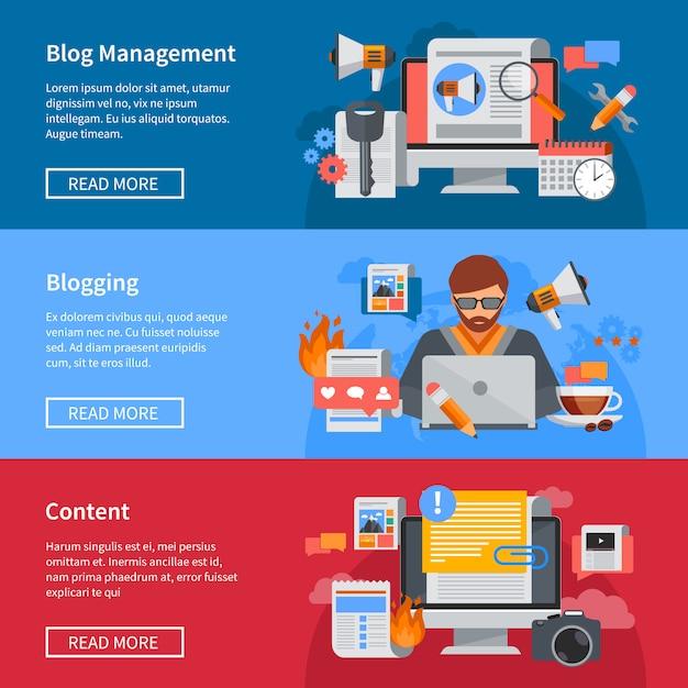 Banners planos horizontales de blogging y gestión de blog con blogger compartiendo contenido vector gratuito