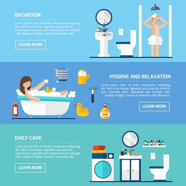 Banners planos horizontales higiene personal conjunto vector gratuito