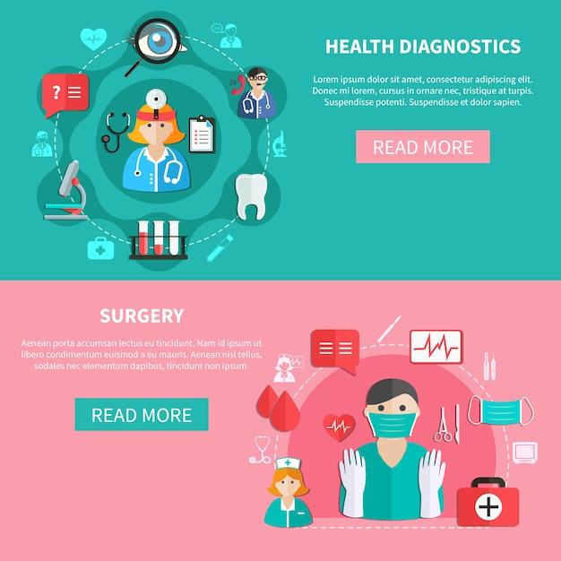 Banners planos horizontales de medicina vector gratuito