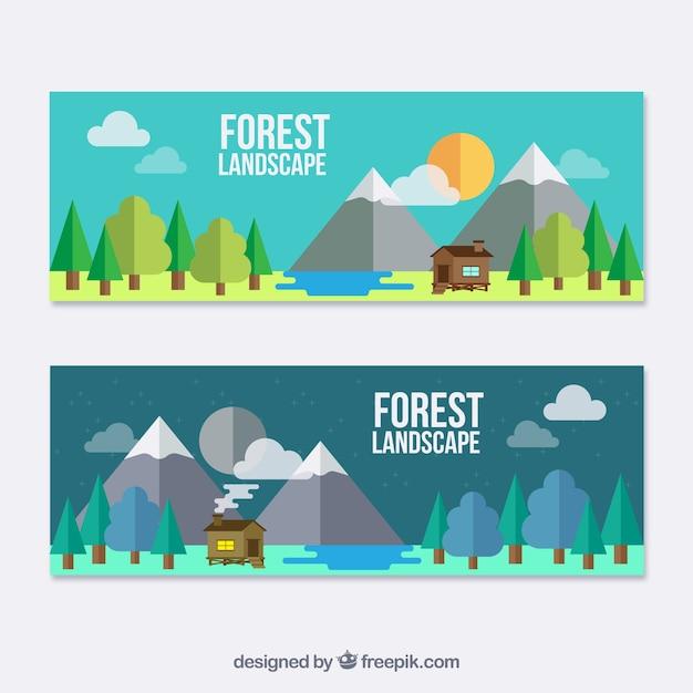 Banners planos de paisaje con una bonita cabaña vector gratuito