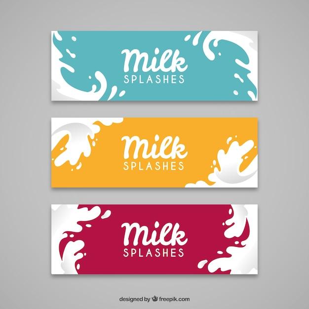 Banners planos de salpicaduras de leche con diferentes colores vector gratuito