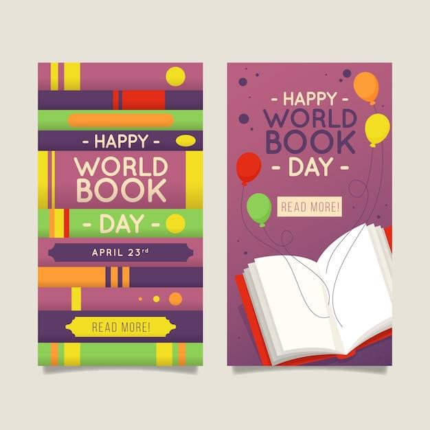 Banners planos verticales del día mundial del libro vector gratuito