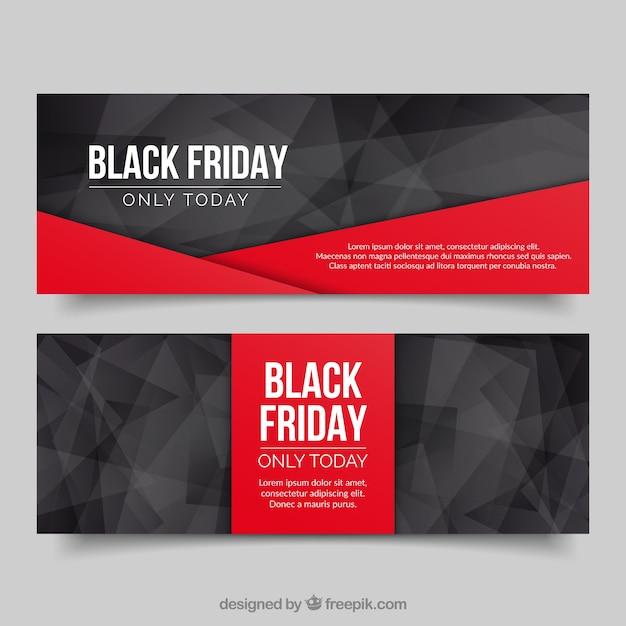 Banners poligonales de viernes negro  Vector Gratis
