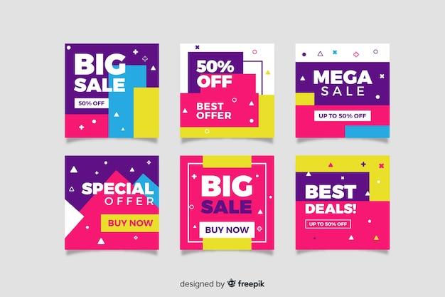 Banners de promoción de rebajas para redes sociales vector gratuito
