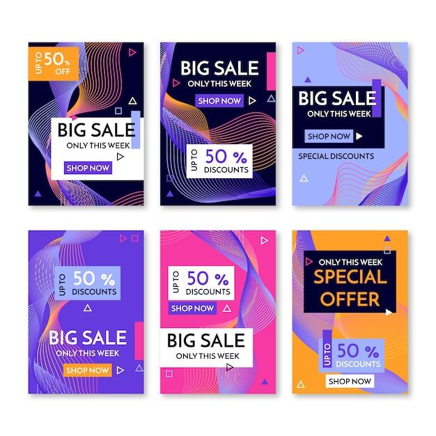 Banners de promoción de venta abstracta vector gratuito