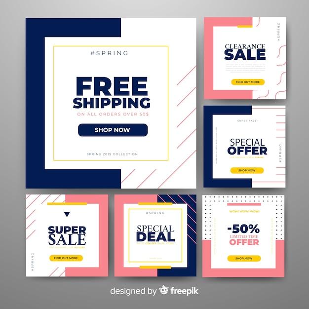 Banners promocionales cuadrados vector gratuito