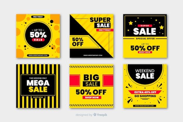 Banners promocionales de rebajas para redes sociales vector gratuito