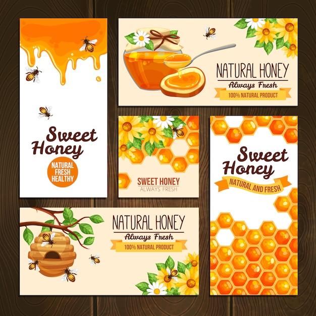 Banners publicitarios de miel vector gratuito