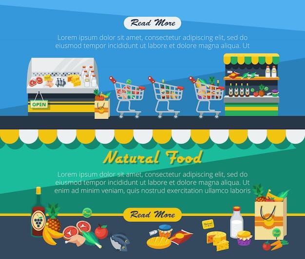 Banners publicitarios de supermercado vector gratuito