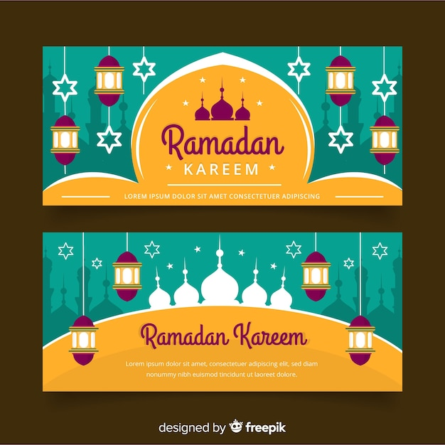 Banners de ramadán vector gratuito