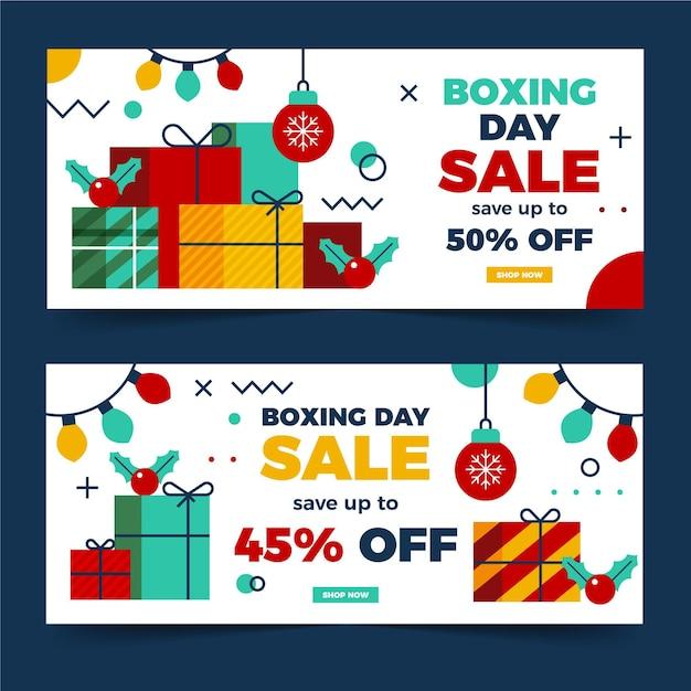 Banners de rebajas de boxing day en diseño plano vector gratuito