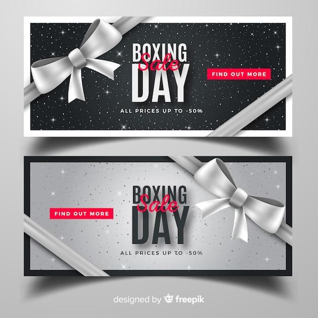 Banners de rebajas de boxing day realista Vector Premium