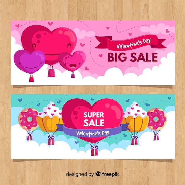 Banners de rebajas del día de san valentín vector gratuito