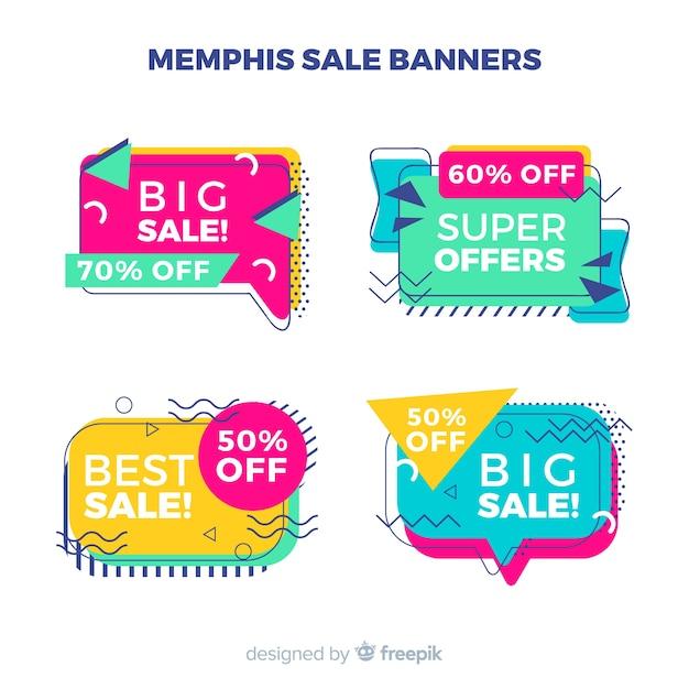 Banners de rebajas en estilo memphis vector gratuito