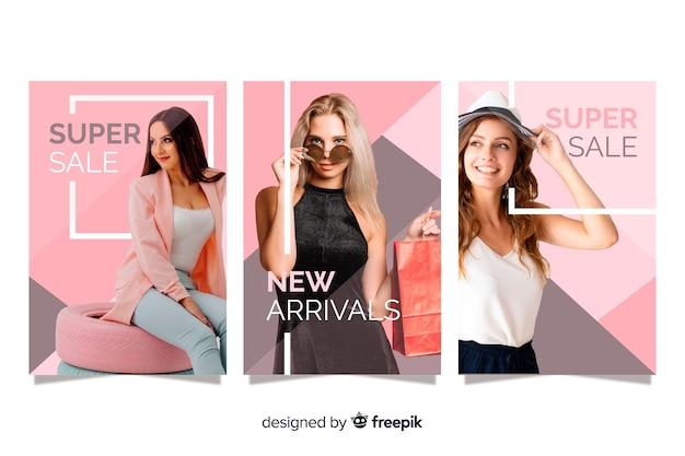 Banners de rebajas de moda con fotografía vector gratuito