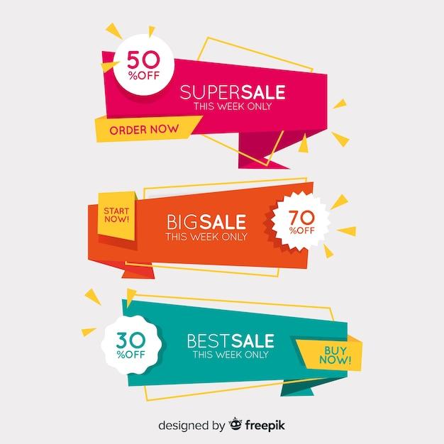Banners de rebajas de origami vector gratuito