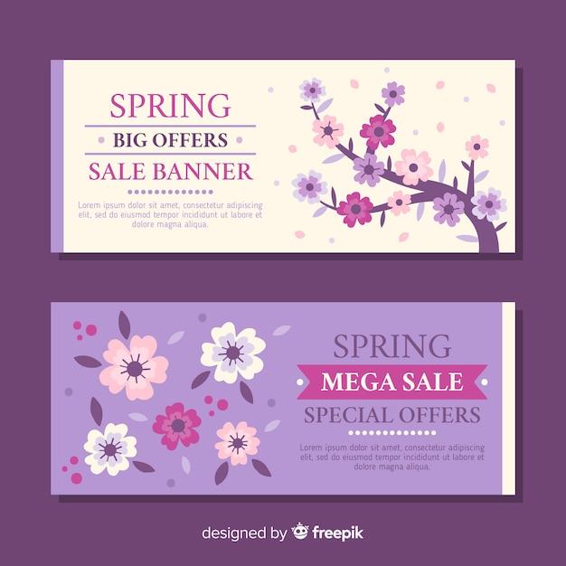 Banners de rebajas de primavera en diseño plano vector gratuito