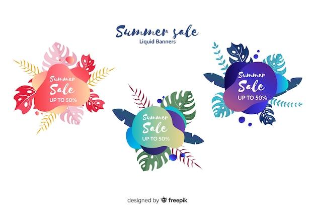 Banners de rebajas de verano efecto líquido vector gratuito