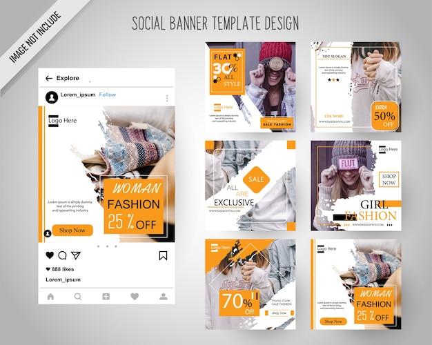 Banners de redes sociales de moda para marketing digital Vector Premium