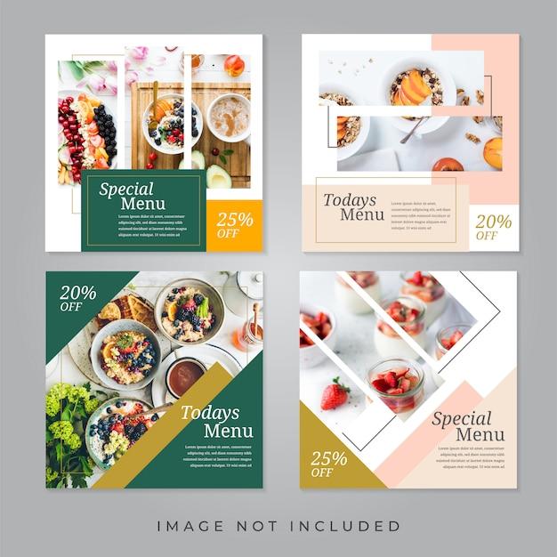 Banners de redes sociales de restaurantes de comida. Vector Premium