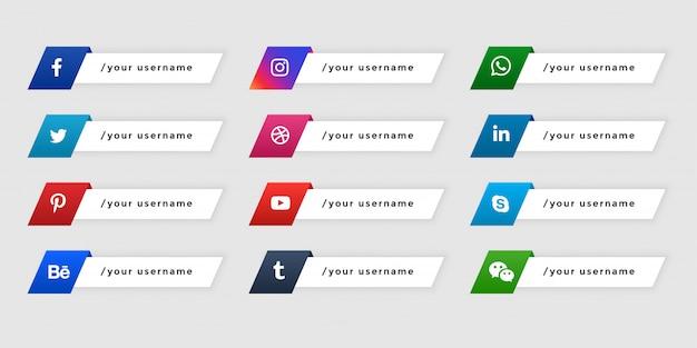 Banners de redes sociales de tercio inferior en estilo de botón vector gratuito