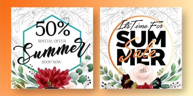 Banners de redes sociales de venta de verano Vector Premium