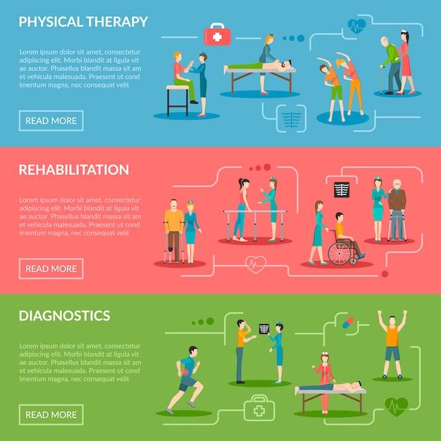 Banners de rehabilitación de fisioterapia vector gratuito