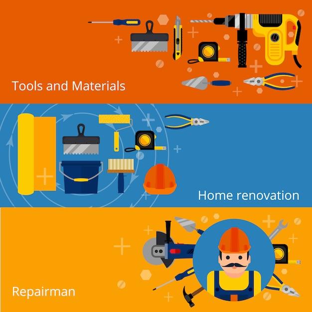 Banners de reparaciones y renovación de viviendas. vector gratuito