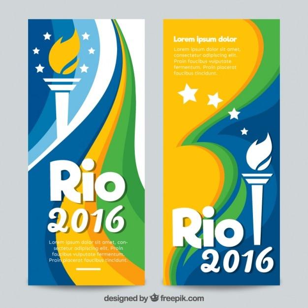 Banners de rio 2016 con una antorcha vector gratuito