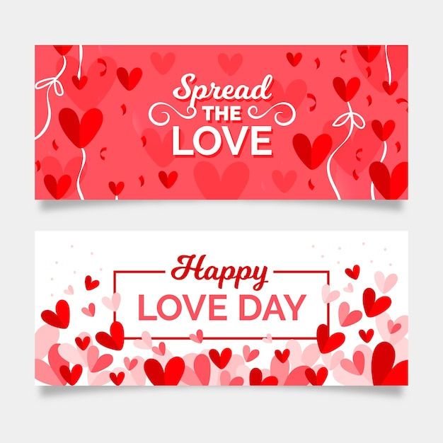 Banners románticos del día de san valentín vector gratuito