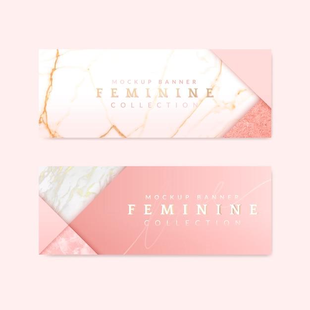 Banners rosa femeninos vector gratuito