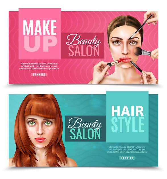 Banners de salón de cara modelo vector gratuito