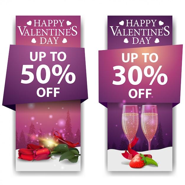 Banners de san valentín Vector Premium