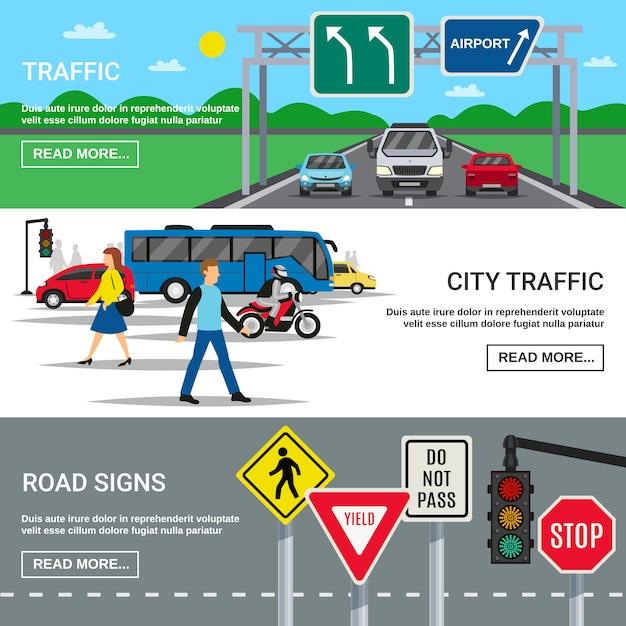Banners de señales de tráfico de tráfico de la ciudad vector gratuito