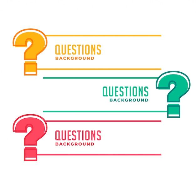 Banners de signo de interrogación para ayuda y soporte vector gratuito