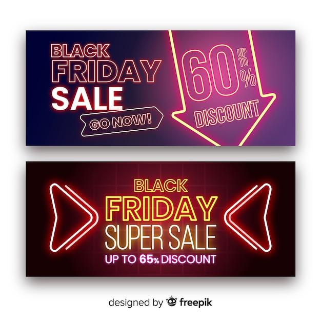Banners de super venta de viernes negro vector gratuito