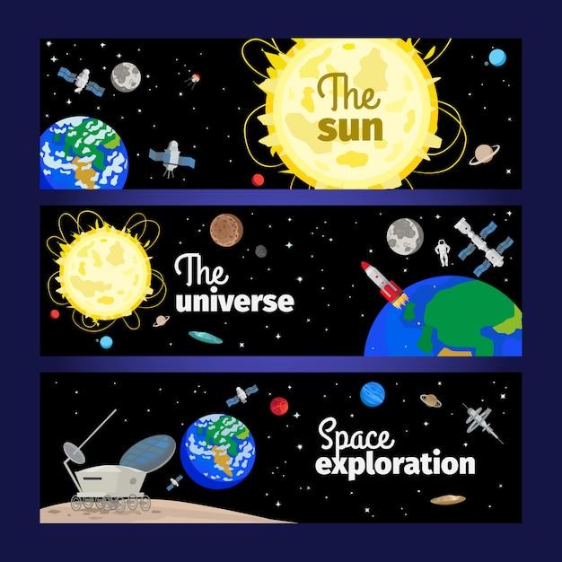 Banners de temática espacial con planetas. Vector Premium