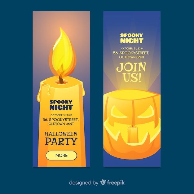 Banners terroríficos de halloween con diseño realista vector gratuito