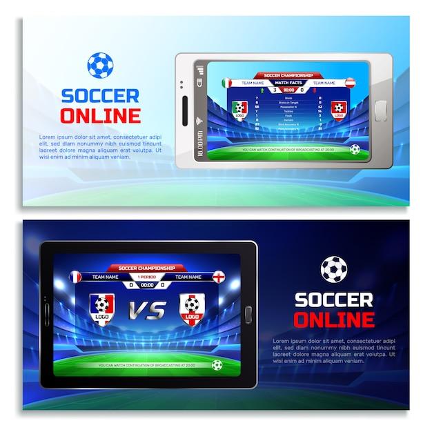 Banners de transmisión de fútbol en línea vector gratuito
